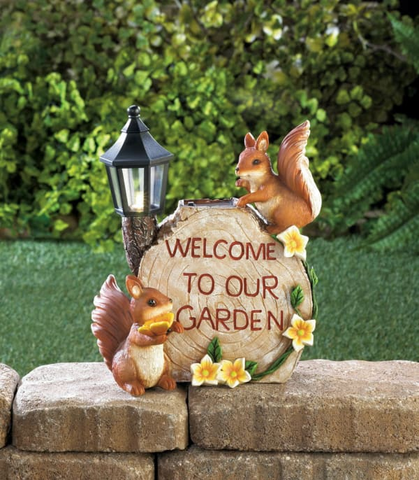 Solar Welcome To Our Garden Squirrels