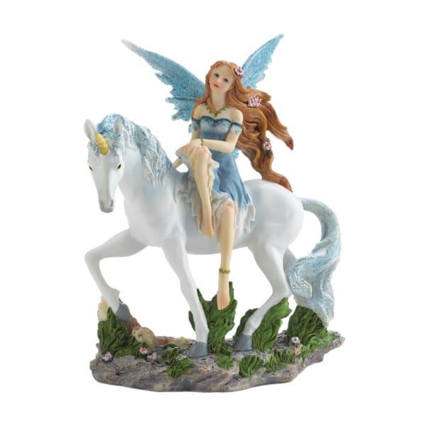 Magical Blue Fairy and Unicorn Figurine