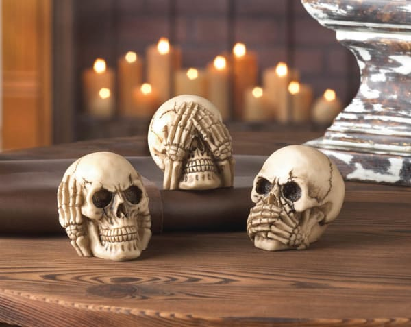 See, Hear, or Speak No Evil Skulls Set of 3