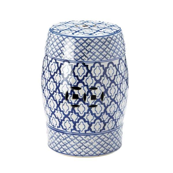 Blue and White Ceramic Decorative Stool