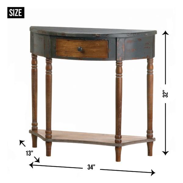 Wood Half-Moon Hall Table