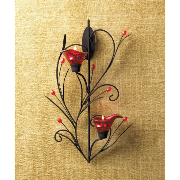 Ruby Blossom Candle Wall Sconce