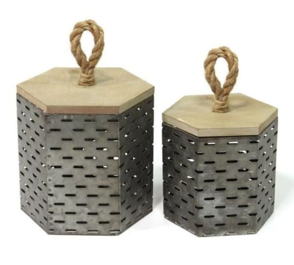 Decorative Metal Set of 2 Accent Boxes