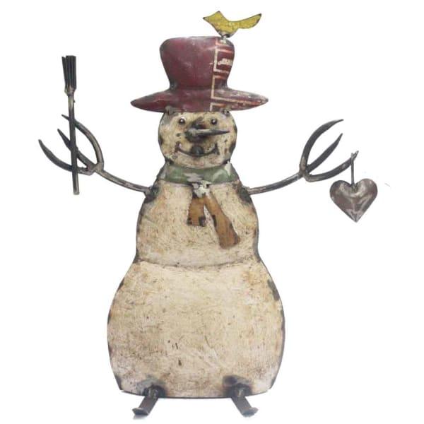 Snowman Iron Sculpture