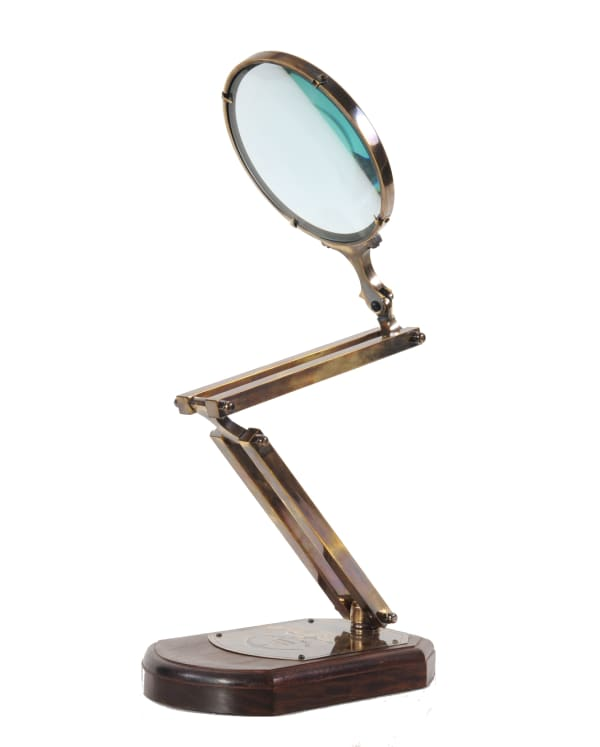 Brass Magnifier Glass With Wooden Base