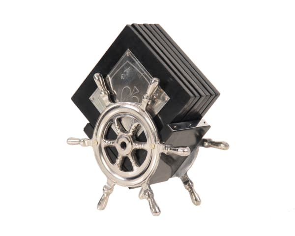 Playing Card Coasters on Ships Wheel Stand