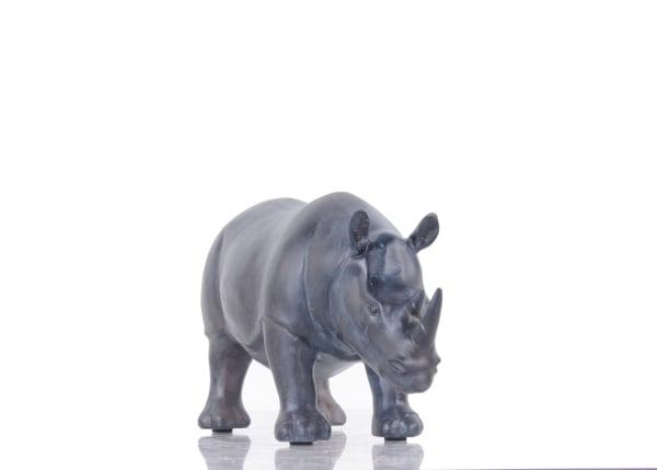 Rhinoceros Burnished Bronze and Black Sculpture