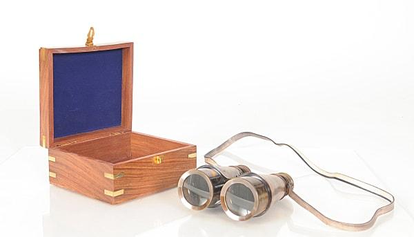 Binoculars in Wooden Storage Box