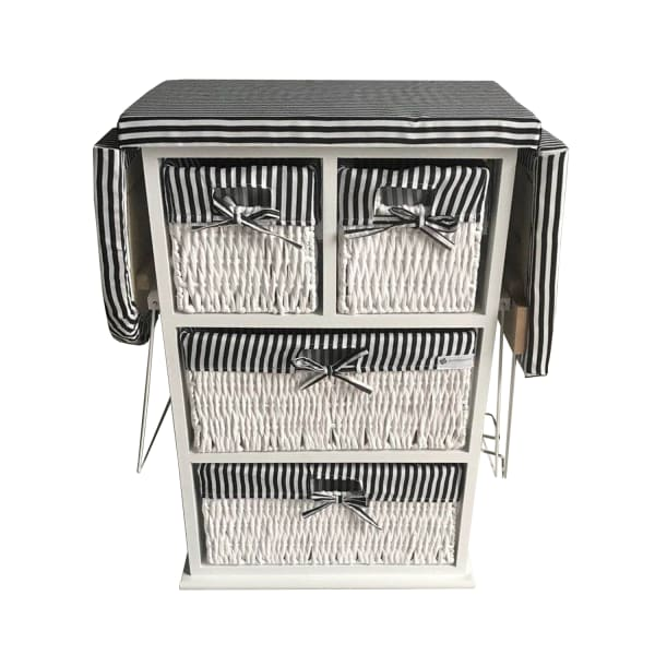 Drop Leaf Ironing Board Cabinet with Shelves and Woven Basket Storage Boxes