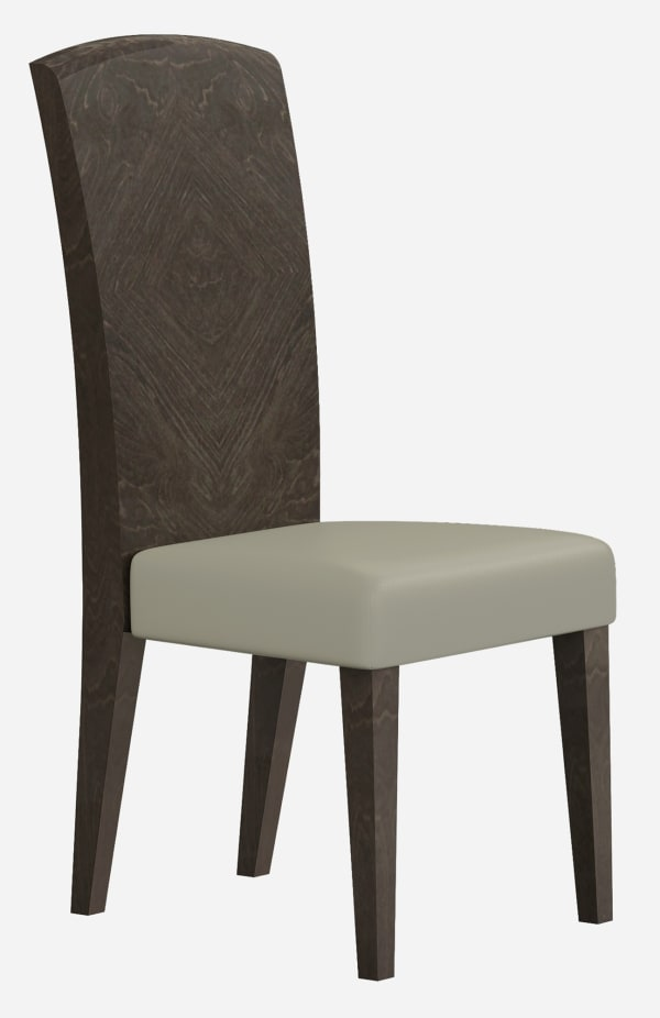 Solid Back Walnut Grain Finish and Gray Dining Chair