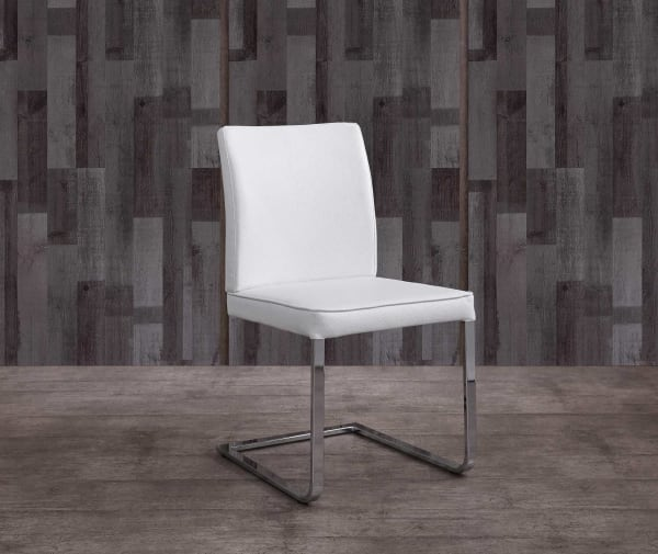 Contemporary White Faux Leather Chrome Dining Chair