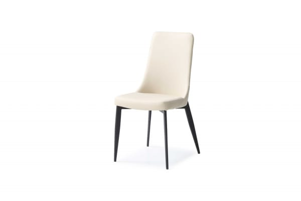 Light Taupe Faux Leather Metal Set of 2 Dining Chairs