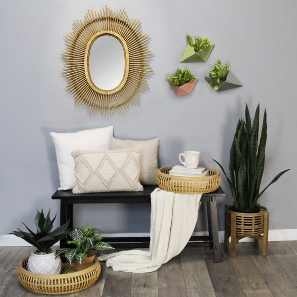 Oval Bamboo Wood Framed Wall Mirror