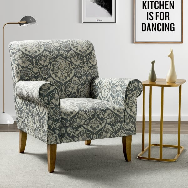 Renata Armchair with Wood Base In Grey
