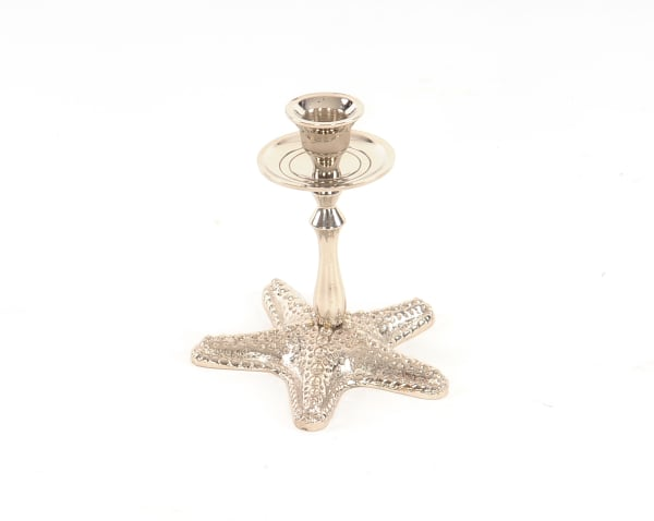 Silver Finish Star Fish Taper Candle Holder