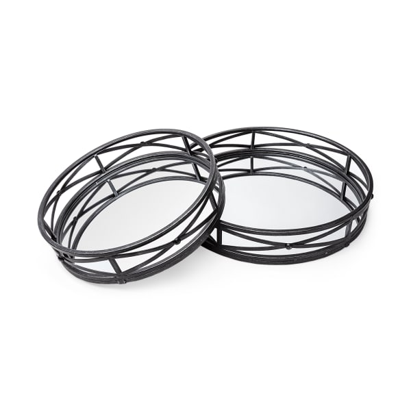 Round Matte Black Metal With Set of 2 Mirrored Glass Bottom Trays
