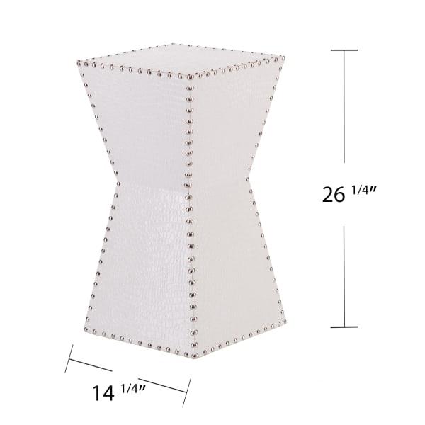 Remington White Faux Leather Accent Table