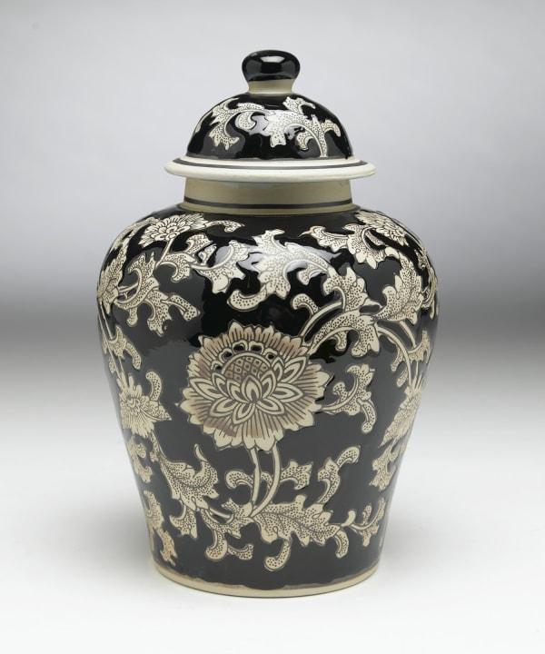 Black and Tan Floral Ginger Jar