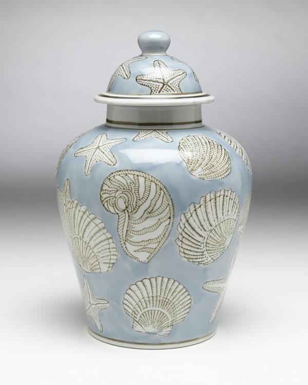 Blue and White Seashell Ginger Jar