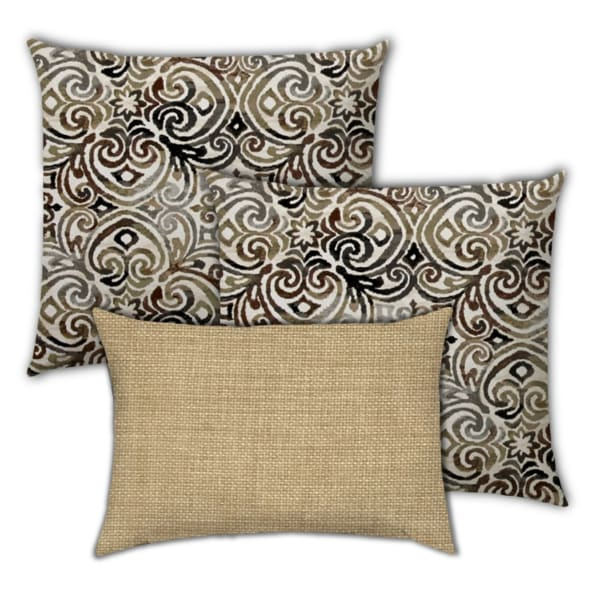 Chocolate Delight Brown, Chocolate And Beige Set of 3 Outdoor Pillows
