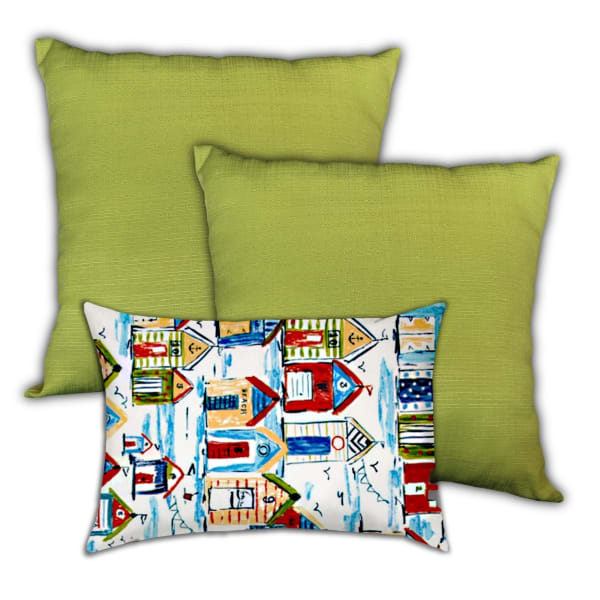Sea Side Resort Red, Blue And Navy Set of 3 Outdoor Pillows