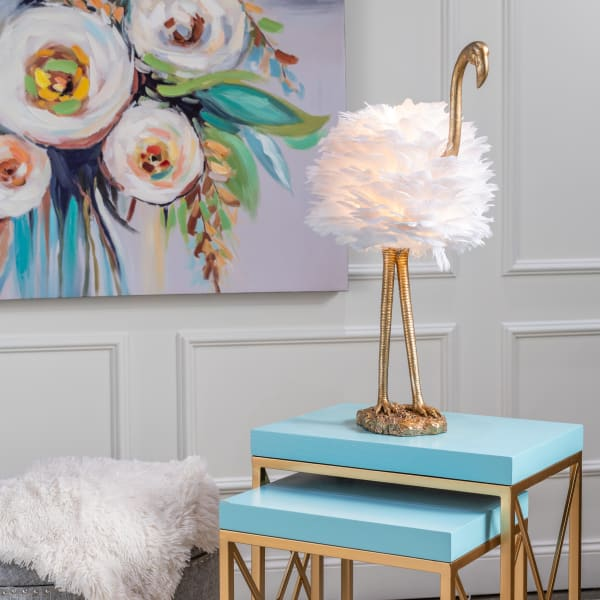 Pearl Gold Flamingo Table Lamp with Feathered Shade