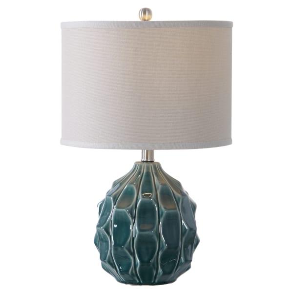 Scalloped Ceramic Table Lamp in Olive Gray