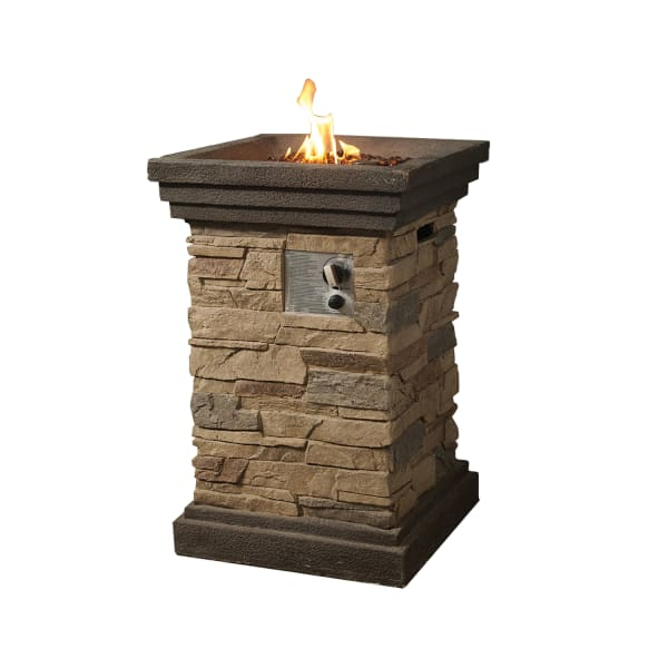 Teresina Brown Stack Stone Outdoor Gas Fire Pit