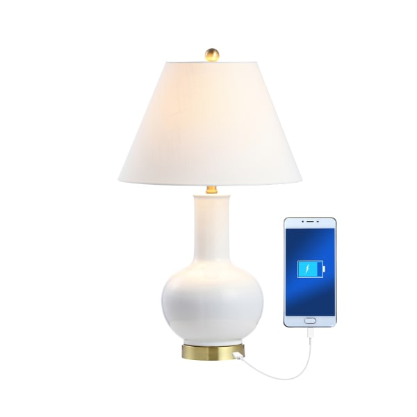 Ceramic/Iron Contemporary USB Charging Table Lamp, White/Brass Gold