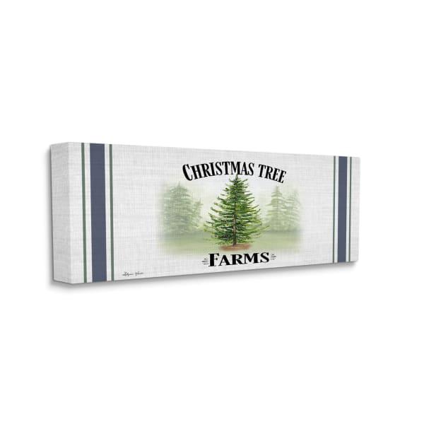 Charming Christmas Tree Forest Blue Farm Stripe Wall Art