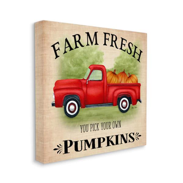 Farm Fresh Pumpkins Red Farm Truck Illustration Wall Art