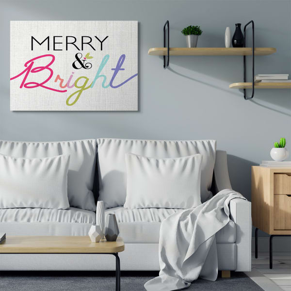 Merry and Bright Whimsical Rainbow Colors Wall Art by