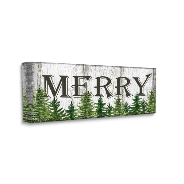 Merry Text Rustic Winter Forest Pine Trees Stretched Canvas Wall Art by Sheri Hart, 10 x 24
