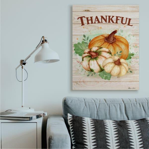 Rustic Thankful Text Colorful Pumpkin Harvest Wall Art