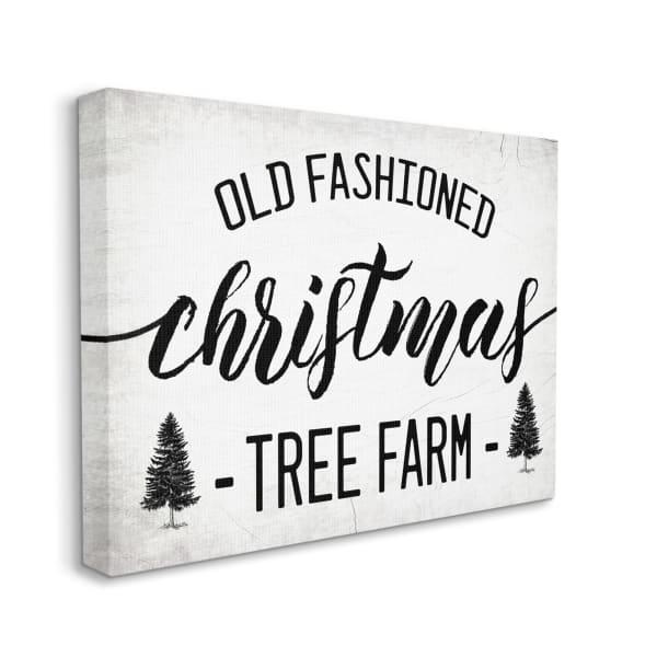 Rustic Minimal Christmas Tree Farm Black White Wall Art