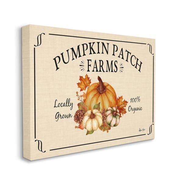 Traditional Pumpkin Patch Farm Sign Tan Orange Wall Art