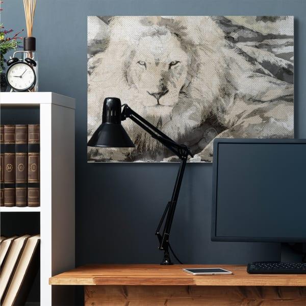 Abstract Sepia Tone Jungle Lion Animal Portrait Super Wall Art