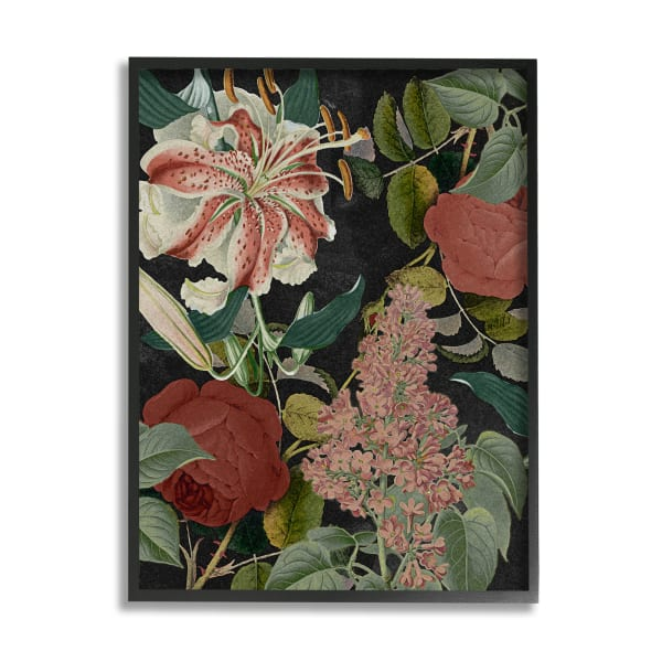 Tropical Bohemian Floral Illustration Green Red Black Framed Giclee Texturized Art by Daphne Polselli 11 x 14