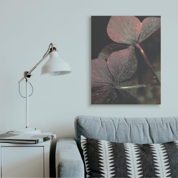 Red Sparkle Petals Warm Tone Clover Detail XXL Stretched Canvas Wall Art by Daphne Polselli 30 x 40