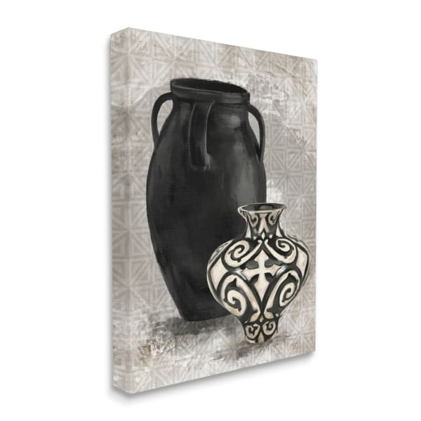 Ornate Ceramics over Grey Geometric Pattern Wall Art