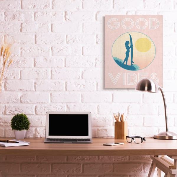 Pink Good Vibes Text Surfer Chick Sunrise Wall Art
