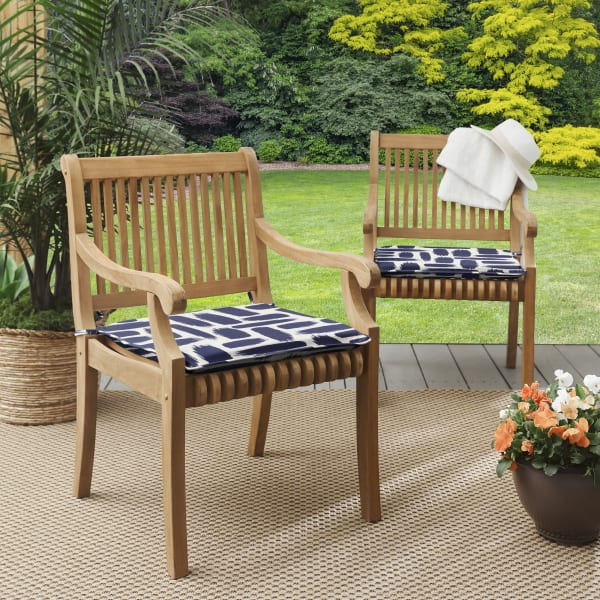 Brush Stroke Corded Outdoor Set of 2 Chair Pads