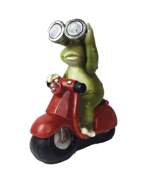 Solar Scooter Frog Outdoor Sculpture