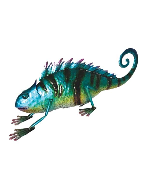 Iron Blue Lizard Outdoor Sculpture