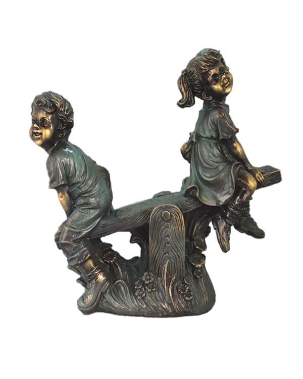 Boy & Girl On Teeter Totter Outdoor Sculpture
