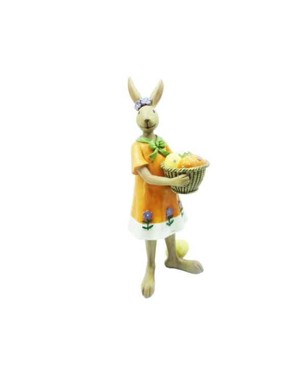 Mrs Rabbit With Basket Egg Outdoor Sculpture