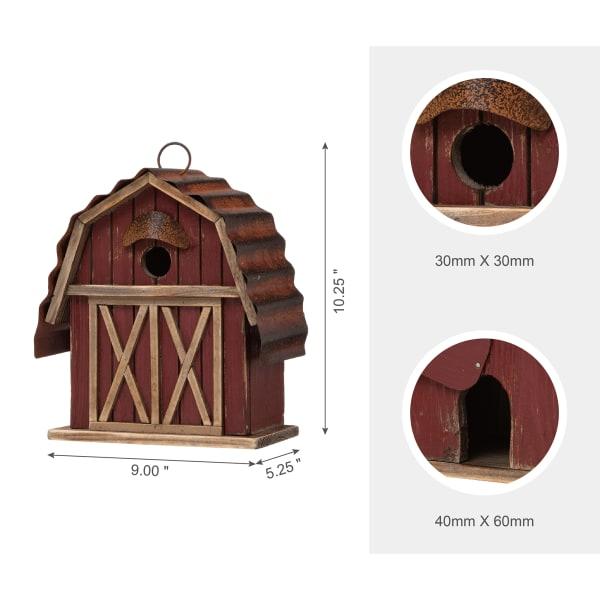 Wood Red Barn Garden Birdhouse