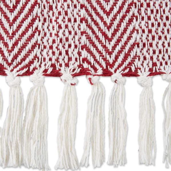 Barn Red Herringbone Stripe Throw