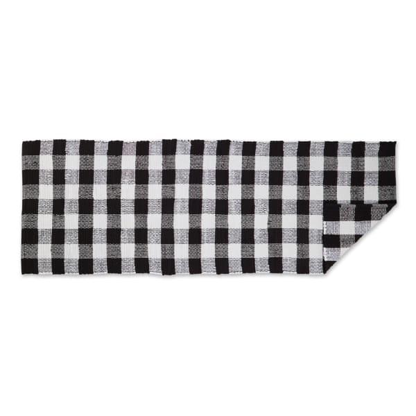 Black & White Buffalo Check Rag Rug 2ft 3in x 6ft