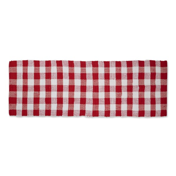 Red & White Buffalo Check Rag Rug 2ft 3in x 6ft